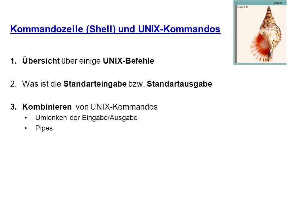 Kommandozeile (Shell) und UNIX-Kommandos 1.Übersicht über einige UNIX-Befehle 2.Was ist die Standarteingabe bzw. Standartausgabe 3.Kombinieren von UNI