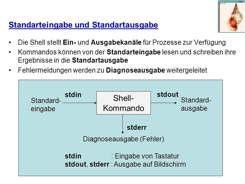 Standarteingabe und Standartausgabe Die Shell stellt Ein- und Ausgabekanäle für Prozesse zur Verfügung Kommandos können von der Standarteingabe lesen