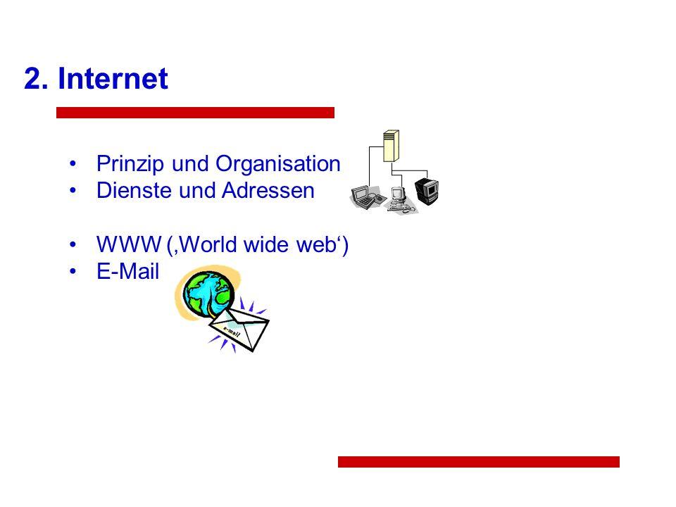 2. Internet Prinzip und Organisation Dienste und Adressen WWW (World wide web) E-Mail