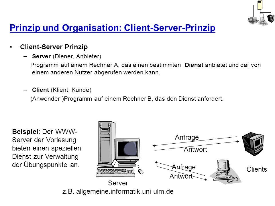 Prinzip und Organisation: Client-Server-Prinzip Client-Server Prinzip –Server (Diener, Anbieter) Programm auf einem Rechner A, das einen bestimmten Di