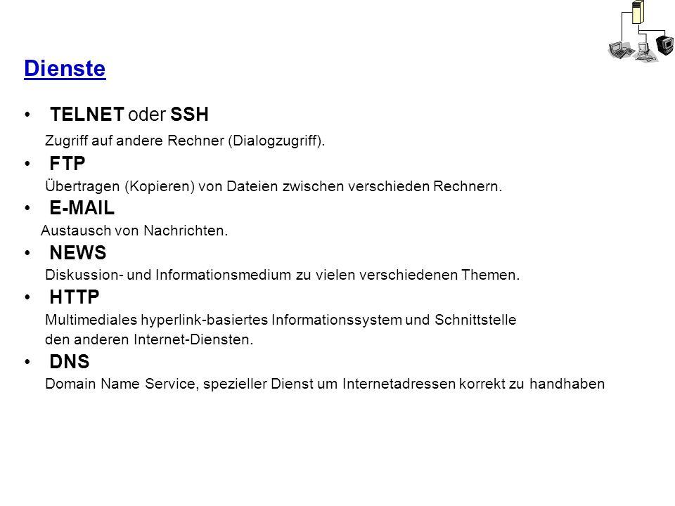Dienste TELNET oder SSH Zugriff auf andere Rechner (Dialogzugriff). FTP Übertragen (Kopieren) von Dateien zwischen verschieden Rechnern. E-MAIL Austau