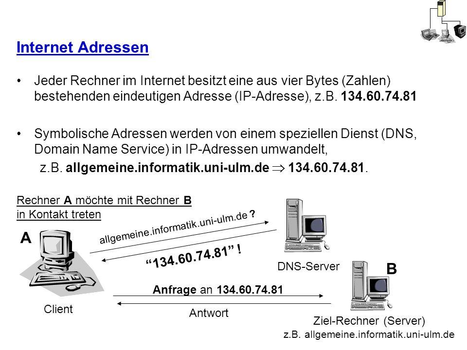 Internet Adressen Jeder Rechner im Internet besitzt eine aus vier Bytes (Zahlen) bestehenden eindeutigen Adresse (IP-Adresse), z.B. 134.60.74.81 Symbo
