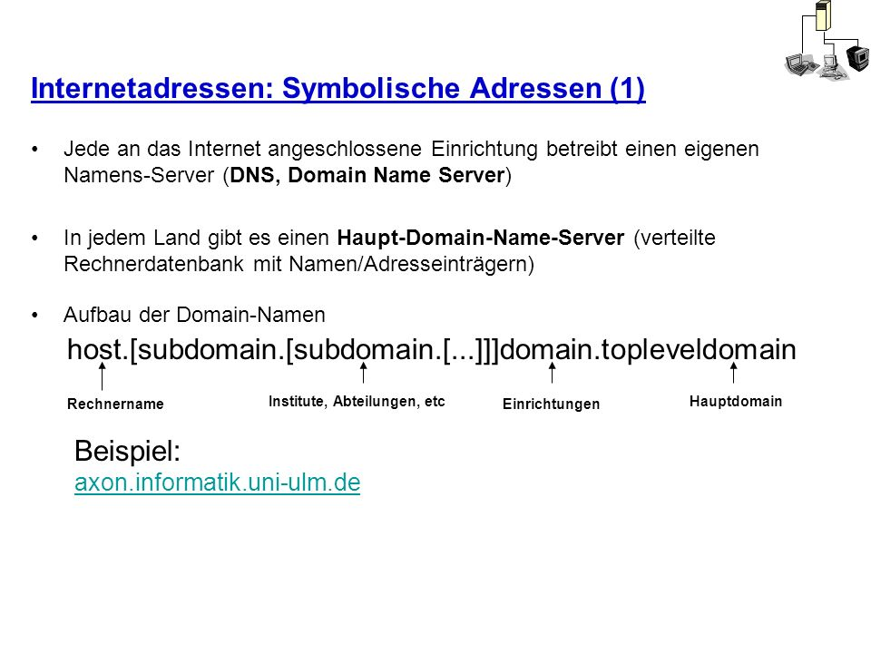 Internetadressen: Symbolische Adressen (1) Jede an das Internet angeschlossene Einrichtung betreibt einen eigenen Namens-Server (DNS, Domain Name Serv