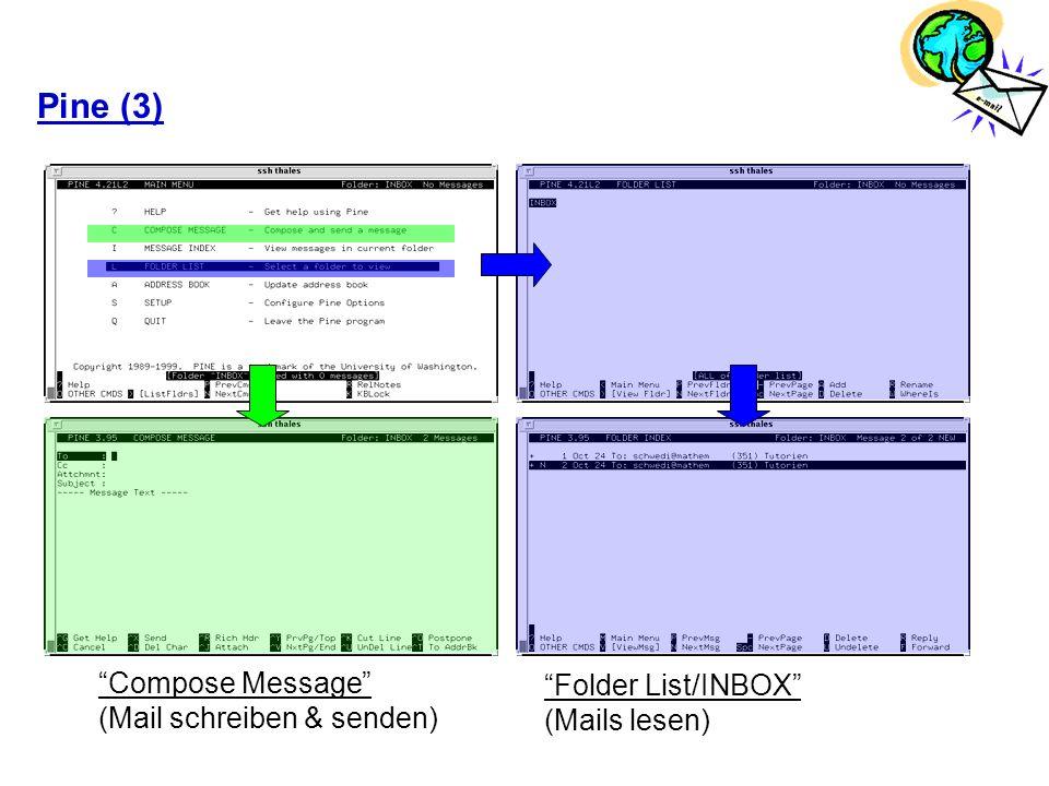 Pine (3) Compose Message (Mail schreiben & senden) Folder List/INBOX (Mails lesen)