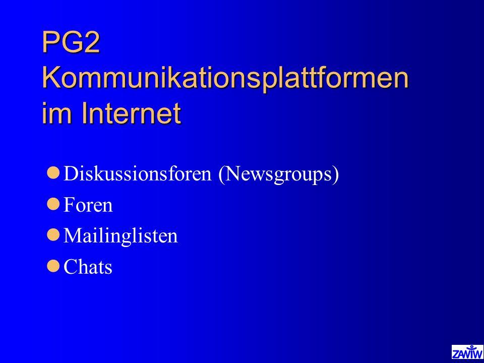 PG2 Kommunikationsplattformen im Internet lDiskussionsforen (Newsgroups) lForen lMailinglisten lChats