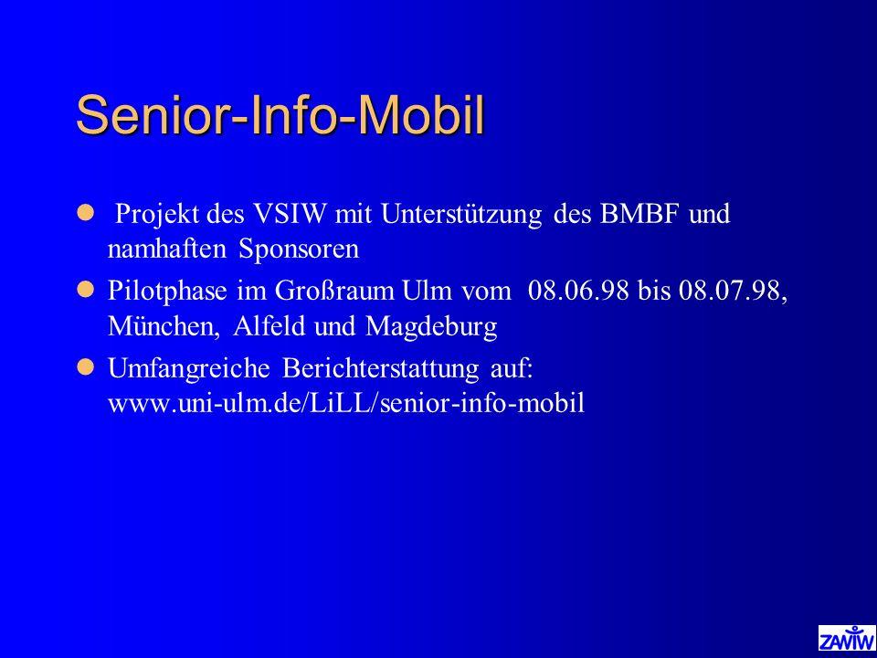 Senior-Info-Mobil l Projekt des VSIW mit Unterstützung des BMBF und namhaften Sponsoren lPilotphase im Großraum Ulm vom 08.06.98 bis 08.07.98, München