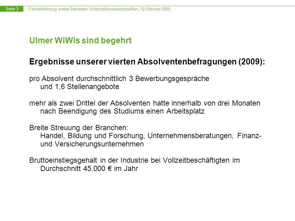 Facheinführung erstes Semester Wirtschaftswissenschaften | 12.Oktober 2009 Seite 3 Ulmer WiWis sind begehrt Ergebnisse unserer vierten Absolventenbefr