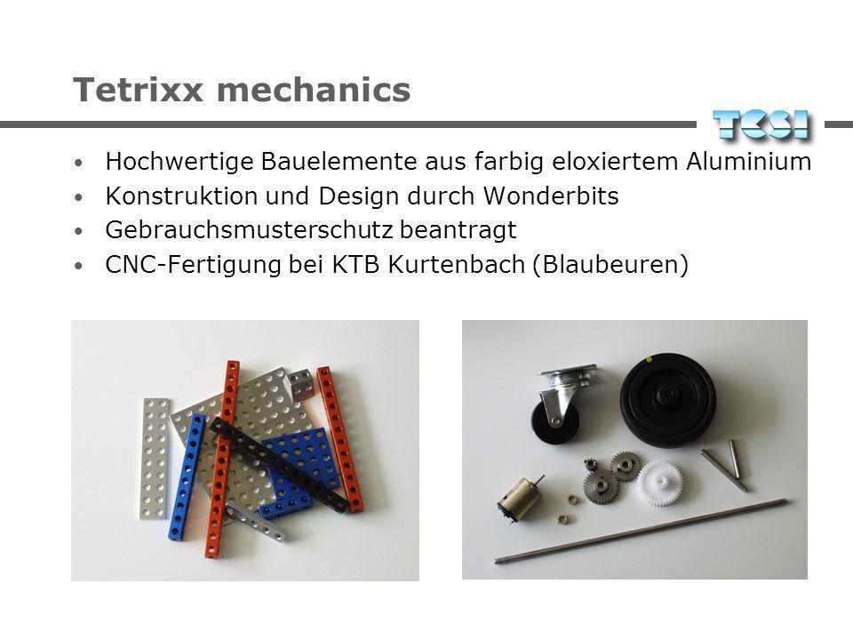Tetrixx mechanics Hochwertige Bauelemente aus farbig eloxiertem Aluminium Konstruktion und Design durch Wonderbits Gebrauchsmusterschutz beantragt CNC-Fertigung bei KTB Kurtenbach (Blaubeuren)