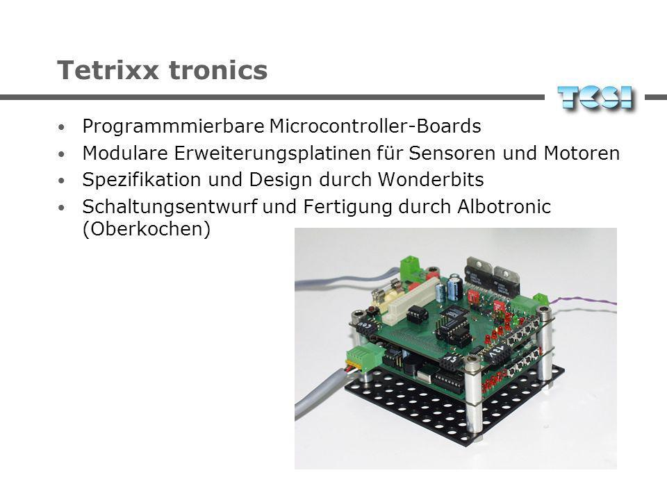 Tetrixx tronics Programmmierbare Microcontroller-Boards Modulare Erweiterungsplatinen für Sensoren und Motoren Spezifikation und Design durch Wonderbits Schaltungsentwurf und Fertigung durch Albotronic (Oberkochen)