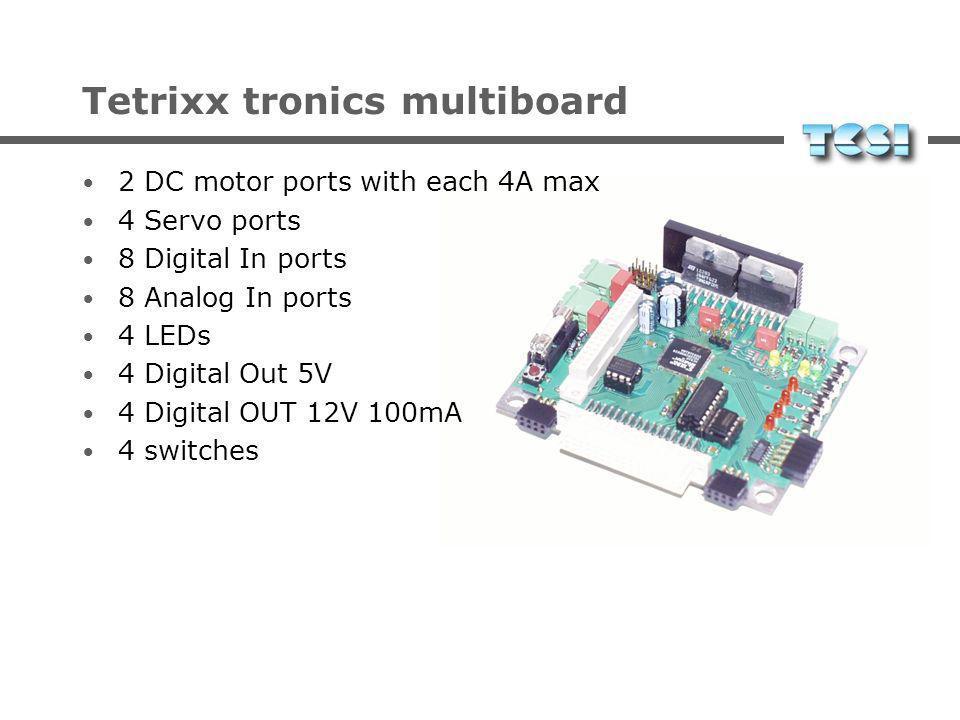 Tetrixx tronics multiboard 2 DC motor ports with each 4A max 4 Servo ports 8 Digital In ports 8 Analog In ports 4 LEDs 4 Digital Out 5V 4 Digital OUT 12V 100mA 4 switches
