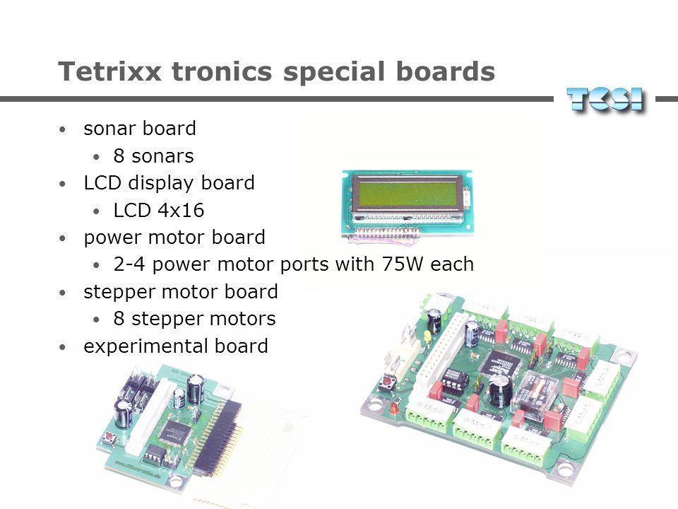 Tetrixx tronics special boards sonar board 8 sonars LCD display board LCD 4x16 power motor board 2-4 power motor ports with 75W each stepper motor board 8 stepper motors experimental board