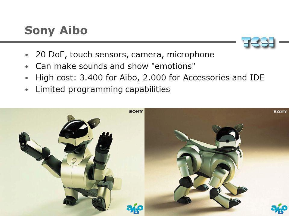 Sony Aibo 20 DoF, touch sensors, camera, microphone Can make sounds and show emotions High cost: 3.400 for Aibo, 2.000 for Accessories and IDE Limited programming capabilities