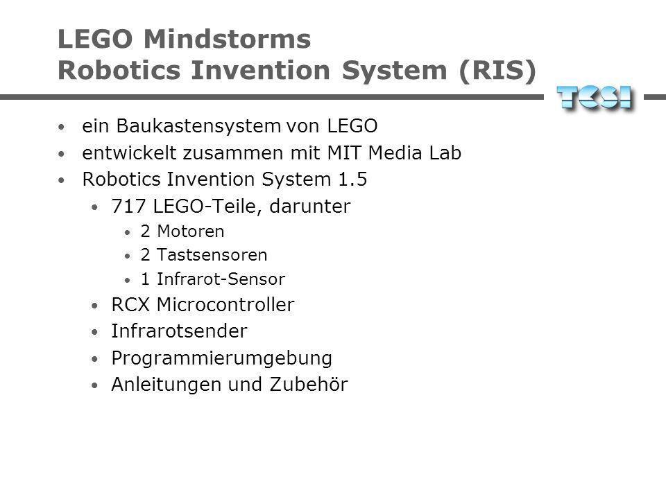 LEGO Mindstorms Robotics Invention System (RIS) ein Baukastensystem von LEGO entwickelt zusammen mit MIT Media Lab Robotics Invention System 1.5 717 LEGO-Teile, darunter 2 Motoren 2 Tastsensoren 1 Infrarot-Sensor RCX Microcontroller Infrarotsender Programmierumgebung Anleitungen und Zubehör