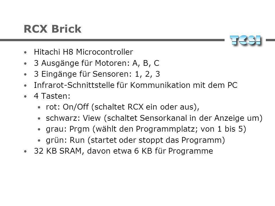 RCX Brick Hitachi H8 Microcontroller 3 Ausgänge für Motoren: A, B, C 3 Eingänge für Sensoren: 1, 2, 3 Infrarot-Schnittstelle für Kommunikation mit dem PC 4 Tasten: rot: On/Off (schaltet RCX ein oder aus), schwarz: View (schaltet Sensorkanal in der Anzeige um) grau: Prgm (wählt den Programmplatz; von 1 bis 5) grün: Run (startet oder stoppt das Programm) 32 KB SRAM, davon etwa 6 KB für Programme