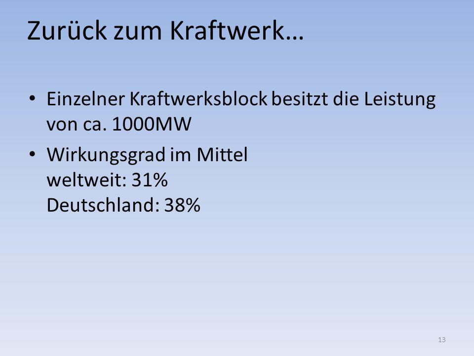 Zurück zum Kraftwerk… Einzelner Kraftwerksblock besitzt die Leistung von ca. 1000MW Wirkungsgrad im Mittel weltweit: 31% Deutschland: 38% 13