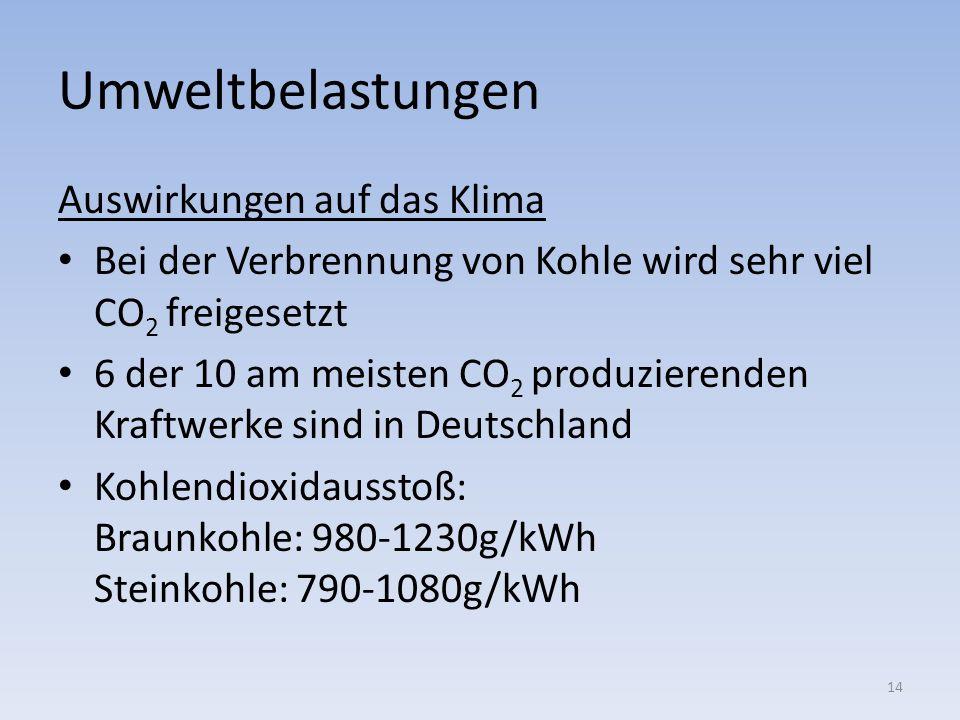 Umweltbelastungen Auswirkungen auf das Klima Bei der Verbrennung von Kohle wird sehr viel CO 2 freigesetzt 6 der 10 am meisten CO 2 produzierenden Kra