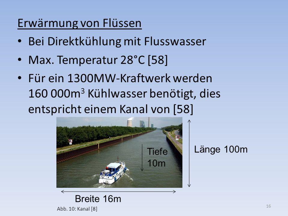 Erwärmung von Flüssen Bei Direktkühlung mit Flusswasser Max. Temperatur 28°C [58] Für ein 1300MW-Kraftwerk werden 160 000m 3 Kühlwasser benötigt, dies