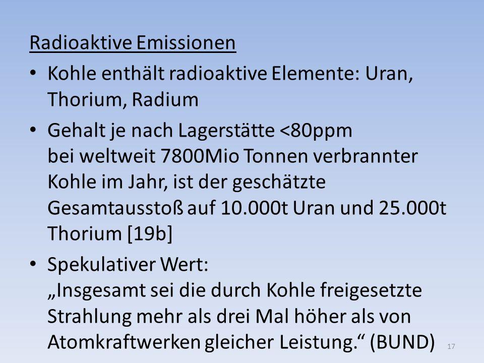 Radioaktive Emissionen Kohle enthält radioaktive Elemente: Uran, Thorium, Radium Gehalt je nach Lagerstätte <80ppm bei weltweit 7800Mio Tonnen verbran