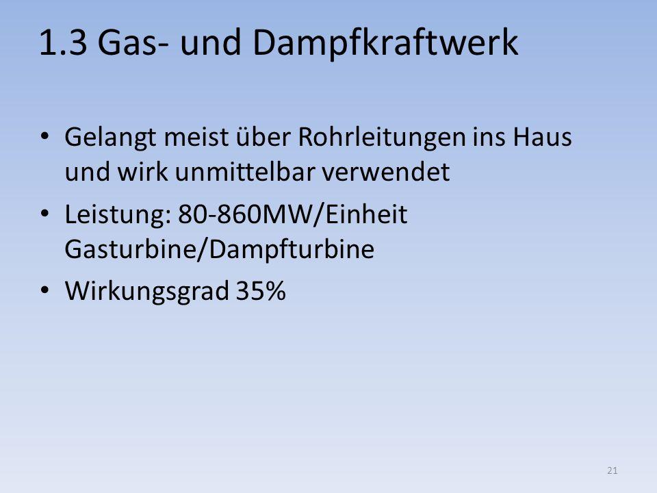 1.3 Gas- und Dampfkraftwerk Gelangt meist über Rohrleitungen ins Haus und wirk unmittelbar verwendet Leistung: 80-860MW/Einheit Gasturbine/Dampfturbin