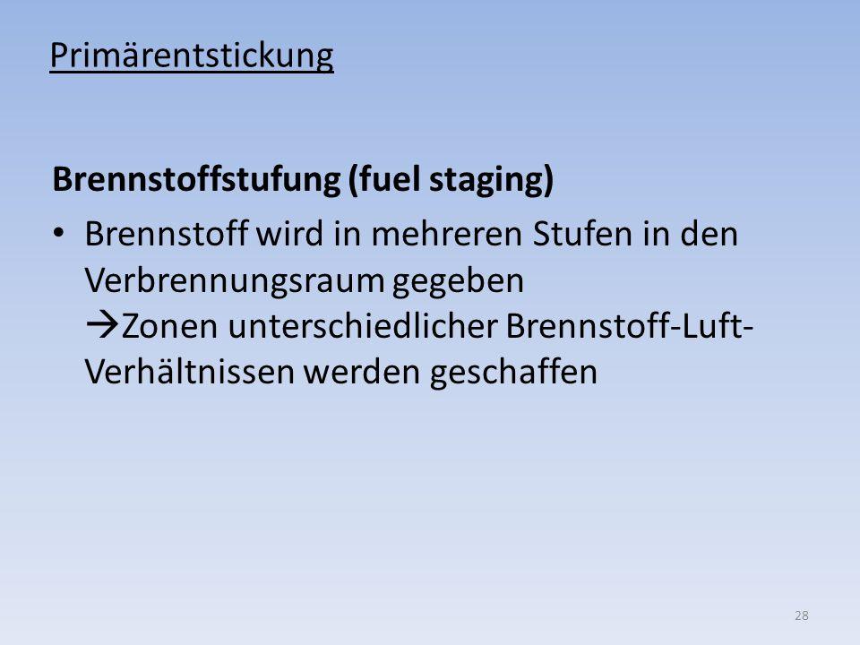Primärentstickung Brennstoffstufung (fuel staging) Brennstoff wird in mehreren Stufen in den Verbrennungsraum gegeben Zonen unterschiedlicher Brennsto