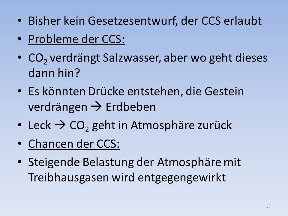 Bisher kein Gesetzesentwurf, der CCS erlaubt Probleme der CCS: CO 2 verdrängt Salzwasser, aber wo geht dieses dann hin? Es könnten Drücke entstehen, d