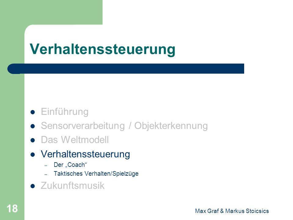 Max Graf & Markus Stoicsics 18 Verhaltenssteuerung Einführung Sensorverarbeitung / Objekterkennung Das Weltmodell Verhaltenssteuerung – Der Coach – Ta