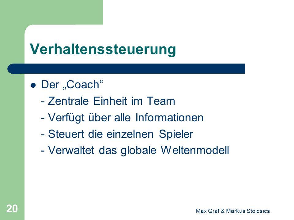 Max Graf & Markus Stoicsics 20 Verhaltenssteuerung Der Coach - Zentrale Einheit im Team - Verfügt über alle Informationen - Steuert die einzelnen Spie
