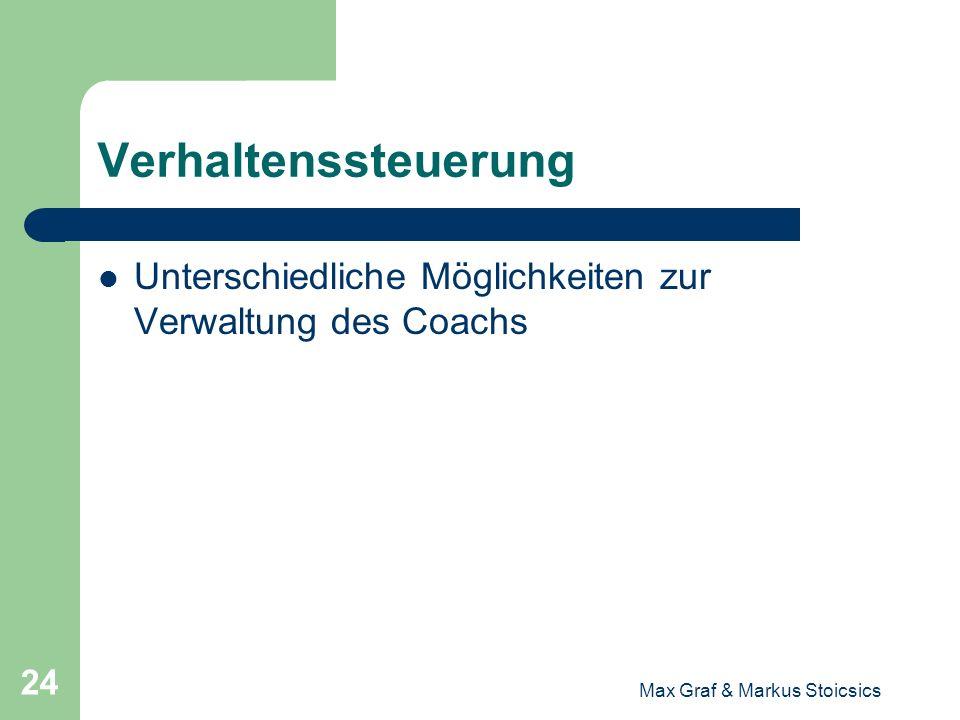 Max Graf & Markus Stoicsics 24 Verhaltenssteuerung Unterschiedliche Möglichkeiten zur Verwaltung des Coachs