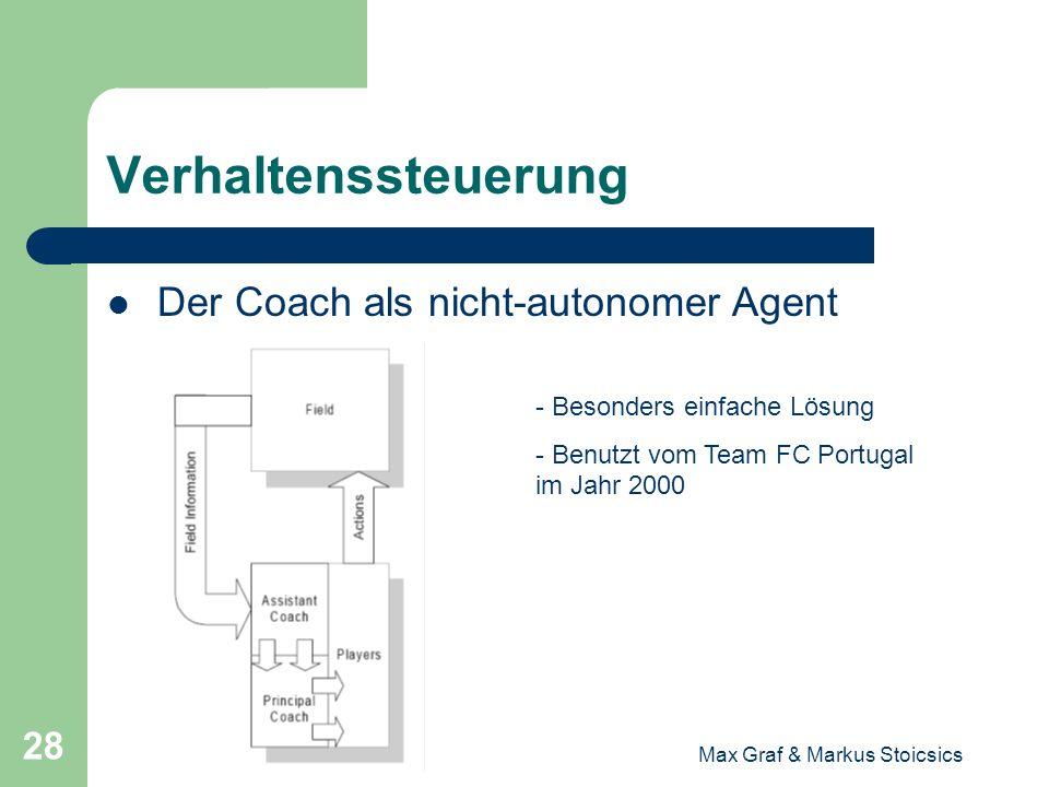 Max Graf & Markus Stoicsics 28 Verhaltenssteuerung Der Coach als nicht-autonomer Agent - Besonders einfache Lösung - Benutzt vom Team FC Portugal im J
