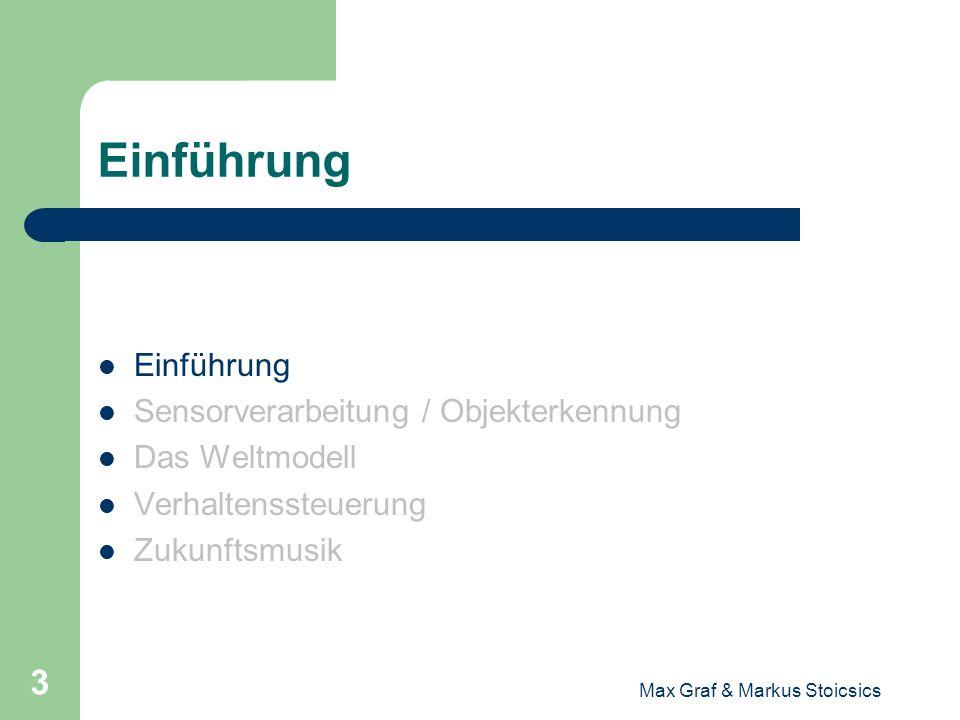 Max Graf & Markus Stoicsics 3 Einführung Sensorverarbeitung / Objekterkennung Das Weltmodell Verhaltenssteuerung Zukunftsmusik