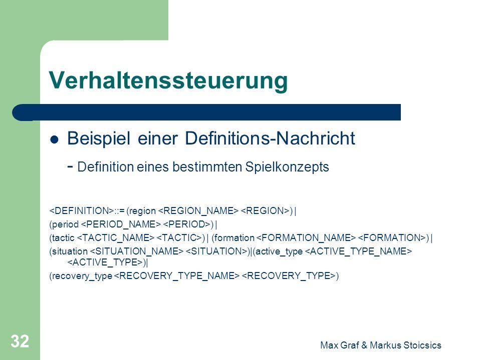 Max Graf & Markus Stoicsics 32 Verhaltenssteuerung Beispiel einer Definitions-Nachricht - Definition eines bestimmten Spielkonzepts ::= (region ) | (p