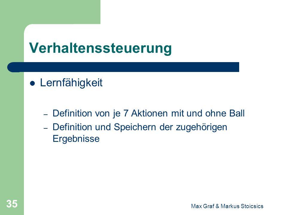 Max Graf & Markus Stoicsics 35 Verhaltenssteuerung Lernfähigkeit – Definition von je 7 Aktionen mit und ohne Ball – Definition und Speichern der zugeh