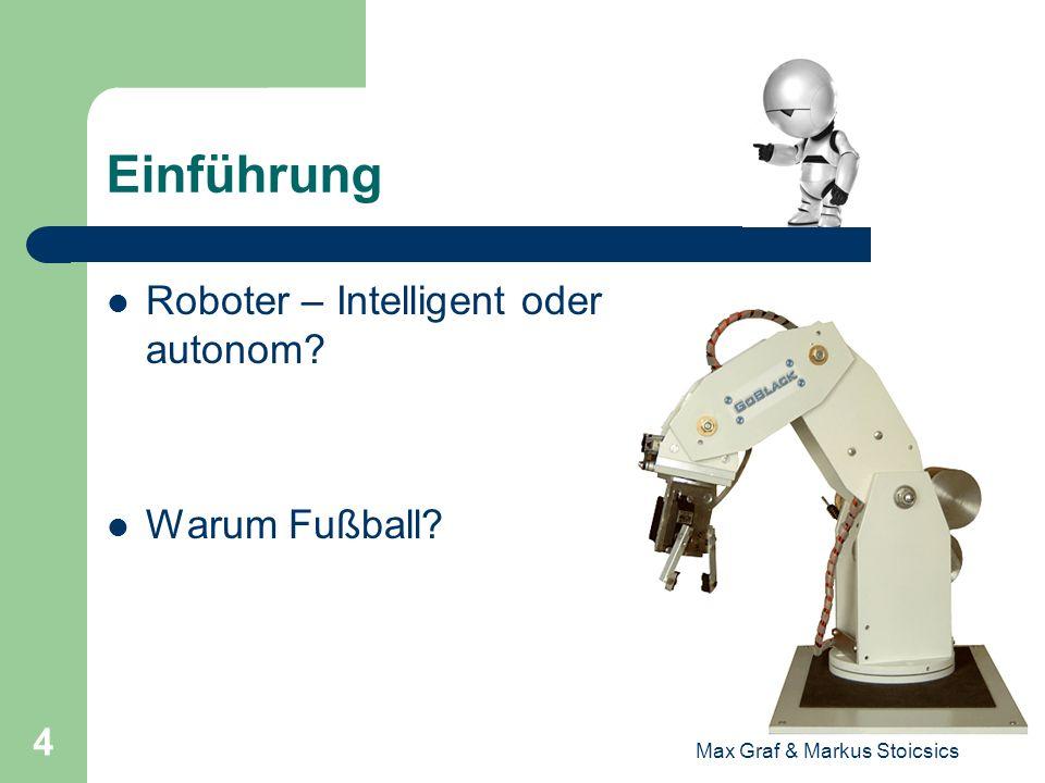 Max Graf & Markus Stoicsics 5 Einführung Das Ziel der Forscher: By the year 2050, develop a team of fully autonomous humanoid robots that can win against the human world soccer champion team.