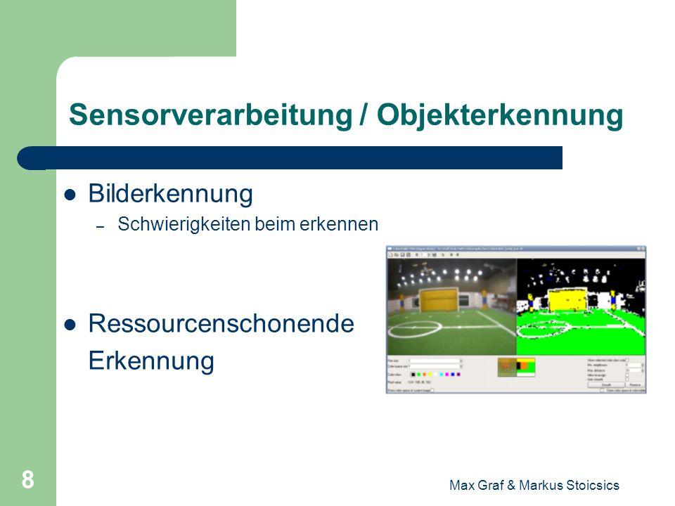 Max Graf & Markus Stoicsics 9 Sensorverarbeitung / Objekterkennung Scanlines – Zusammenfassen der Farben für verkürzte Zugriffszeit Beschränkung der Farben Speicherbedarf Umrechnung der 2D Koordinaten in eigene.