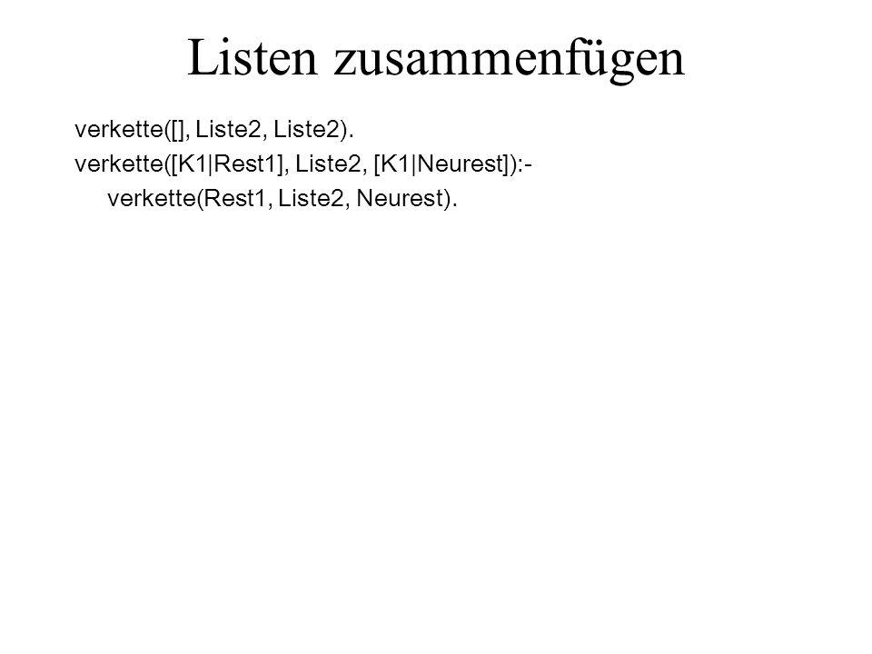 Listen zusammenfügen verkette([], Liste2, Liste2).