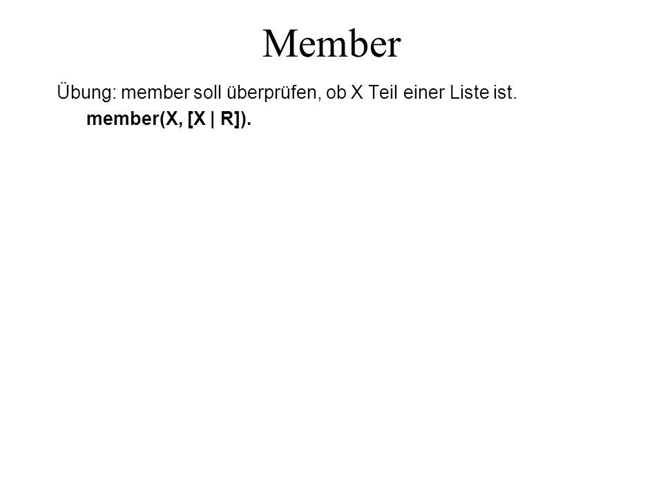 Member Übung: member soll überprüfen, ob X Teil einer Liste ist. member(X, [X | R]).