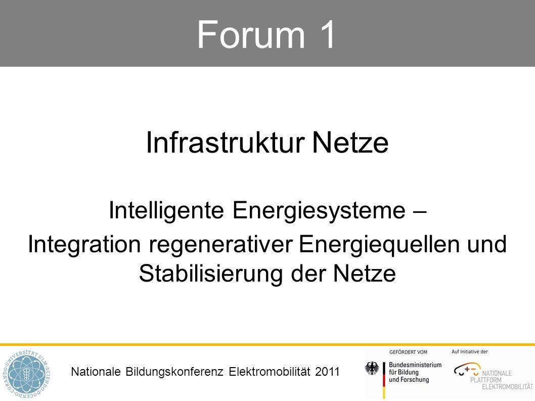 Nationale Bildungskonferenz Elektromobilität 2011 Forum 1 Infrastruktur Netze Intelligente Energiesysteme – Integration regenerativer Energiequellen u