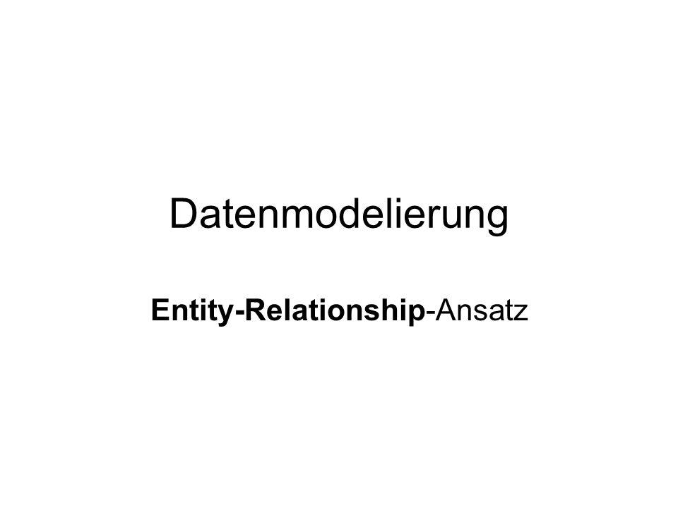 Grundlagen Entity = Ein Objekt der zu modellierenden (Real-)Welt Relationsship = Beziehung (zwischen Entities) Kardinalitäten: 1:1, 1:n, n:m