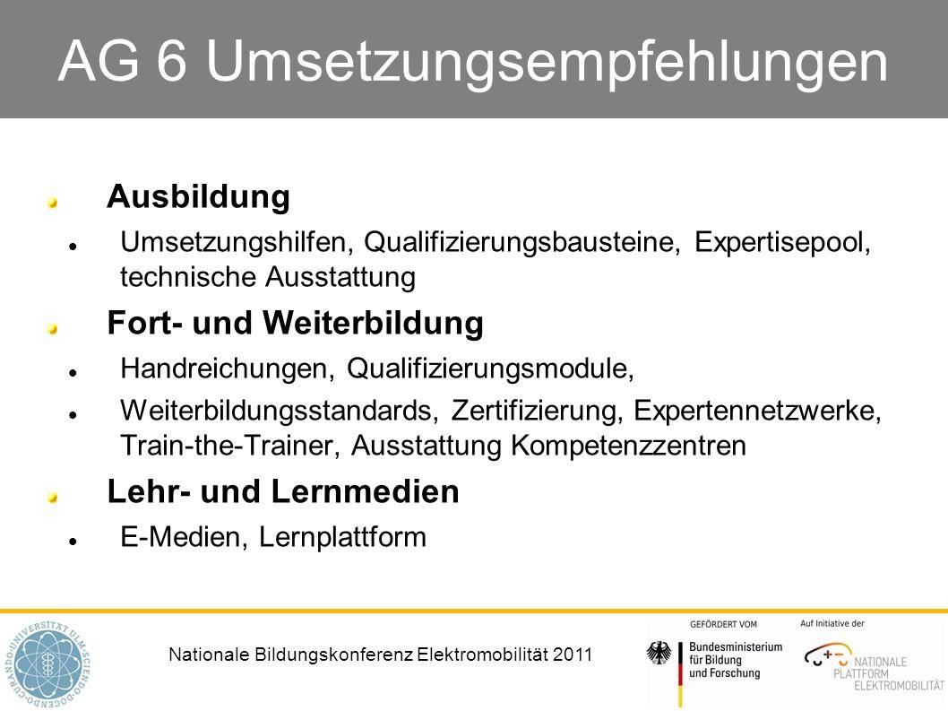 Nationale Bildungskonferenz Elektromobilität 2011 AG 6 Umsetzungsempfehlungen Ausbildung Umsetzungshilfen, Qualifizierungsbausteine, Expertisepool, te