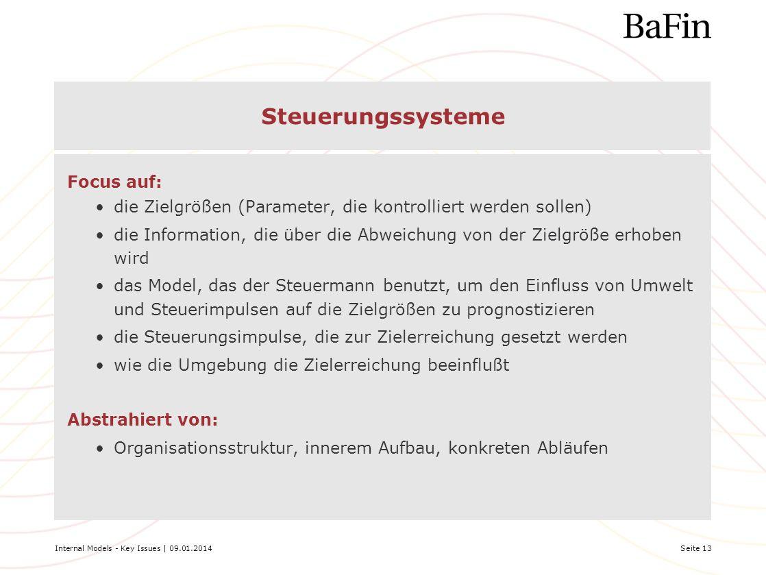 Internal Models - Key Issues | 09.01.2014Seite 13 Steuerungssysteme Focus auf: die Zielgrößen (Parameter, die kontrolliert werden sollen) die Informat