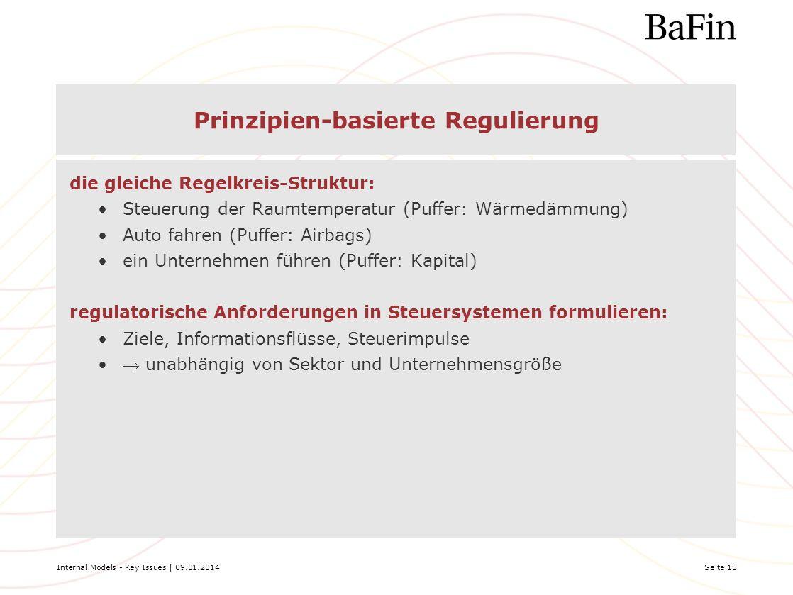 Internal Models - Key Issues | 09.01.2014Seite 15 Prinzipien-basierte Regulierung die gleiche Regelkreis-Struktur: Steuerung der Raumtemperatur (Puffe
