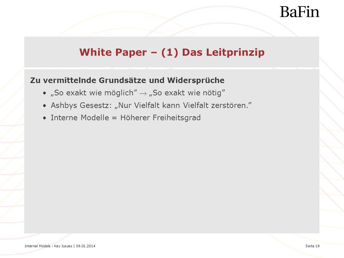 Internal Models - Key Issues | 09.01.2014Seite 19 White Paper – (1) Das Leitprinzip Zu vermittelnde Grundsätze und Widersprüche So exakt wie möglich S