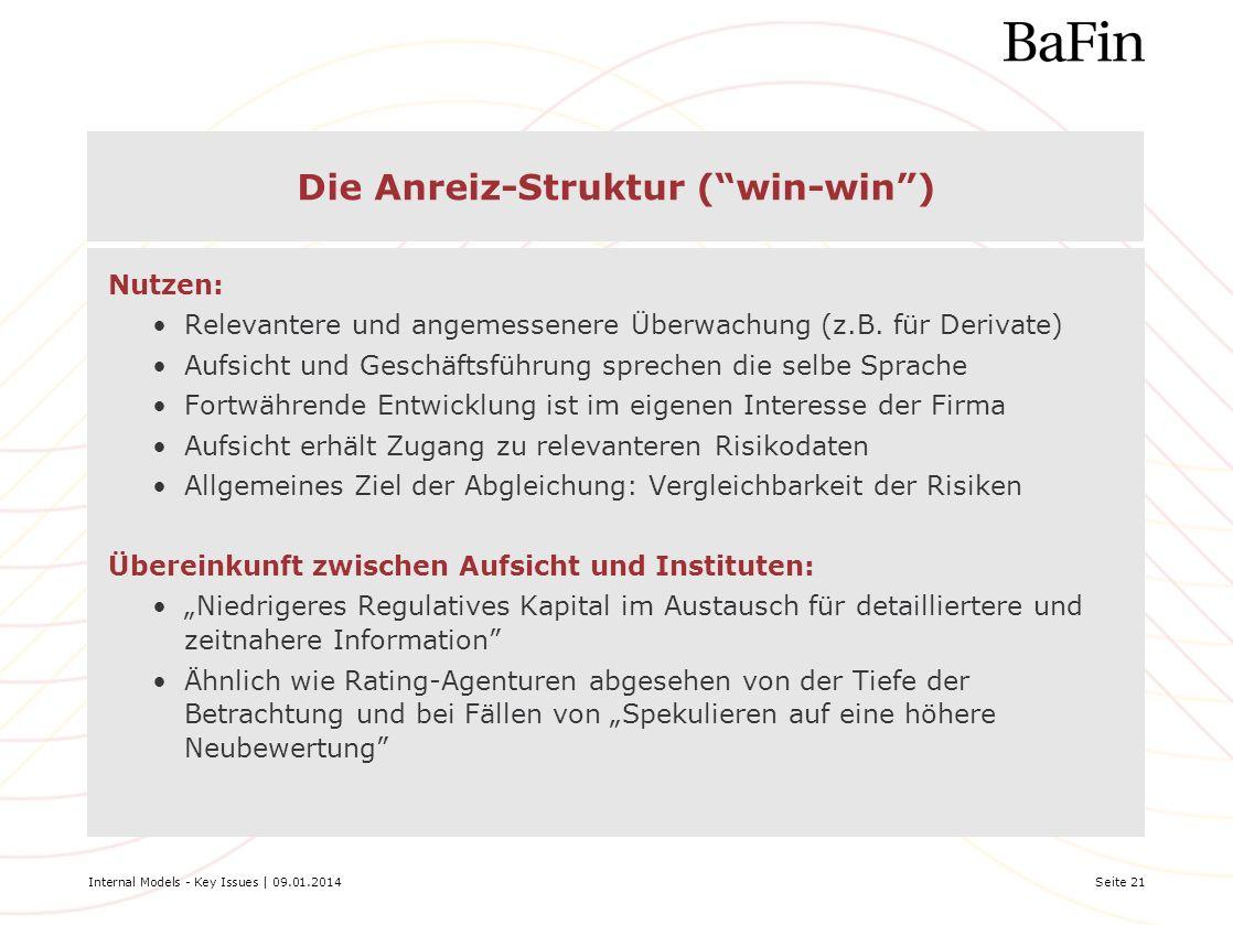 Internal Models - Key Issues | 09.01.2014Seite 21 Die Anreiz-Struktur (win-win) Nutzen: Relevantere und angemessenere Überwachung (z.B. für Derivate)