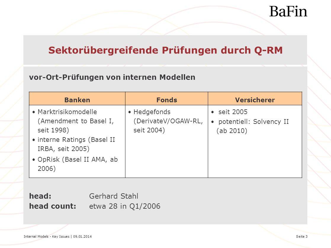 Internal Models - Key Issues | 09.01.2014Seite 3 Sektorübergreifende Prüfungen durch Q-RM head:Gerhard Stahl head count:etwa 28 in Q1/2006 BankenFonds