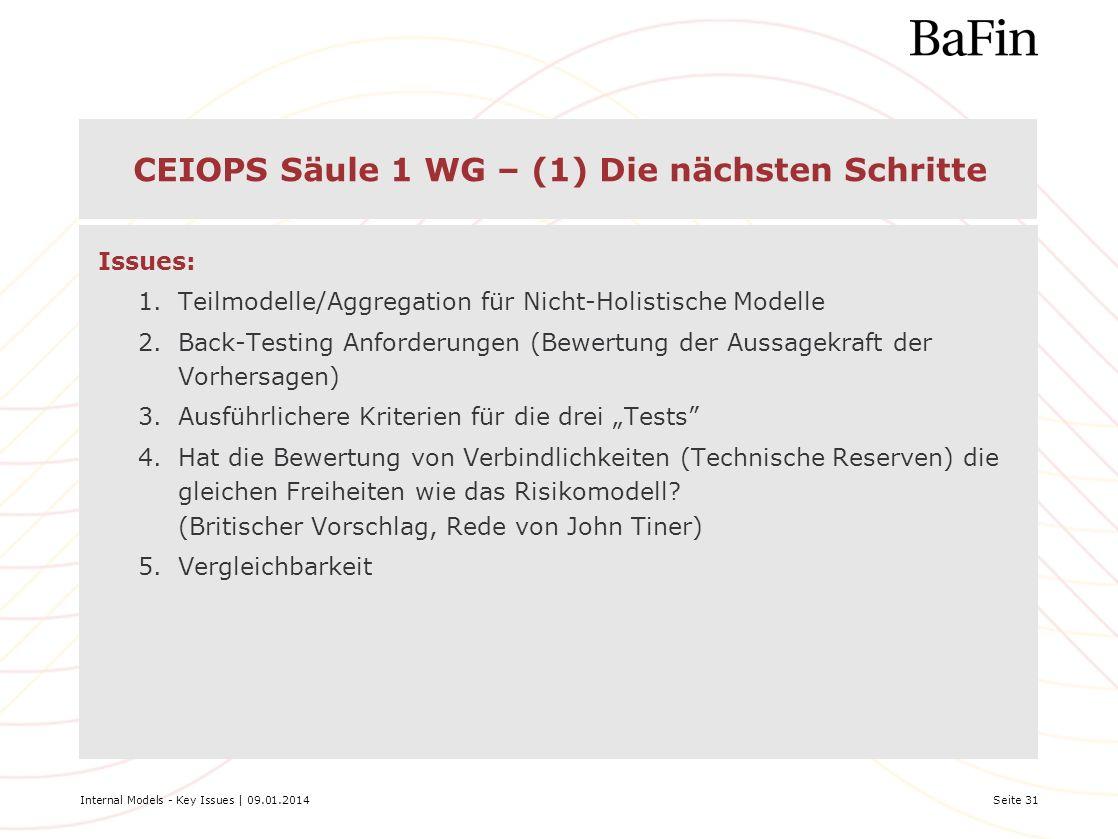 Internal Models - Key Issues | 09.01.2014Seite 31 CEIOPS Säule 1 WG – (1) Die nächsten Schritte Issues: 1.Teilmodelle/Aggregation für Nicht-Holistisch