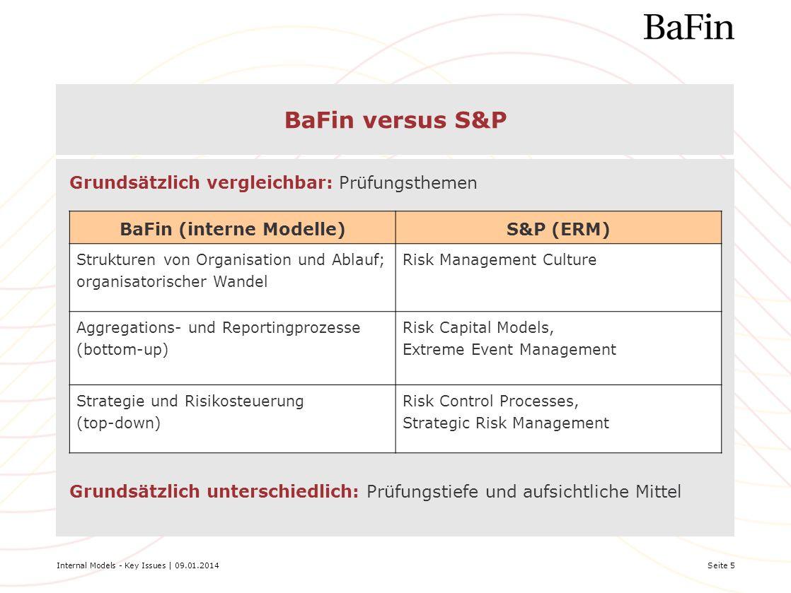 Internal Models - Key Issues | 09.01.2014Seite 5 BaFin versus S&P BaFin (interne Modelle)S&P (ERM) Strukturen von Organisation und Ablauf; organisator