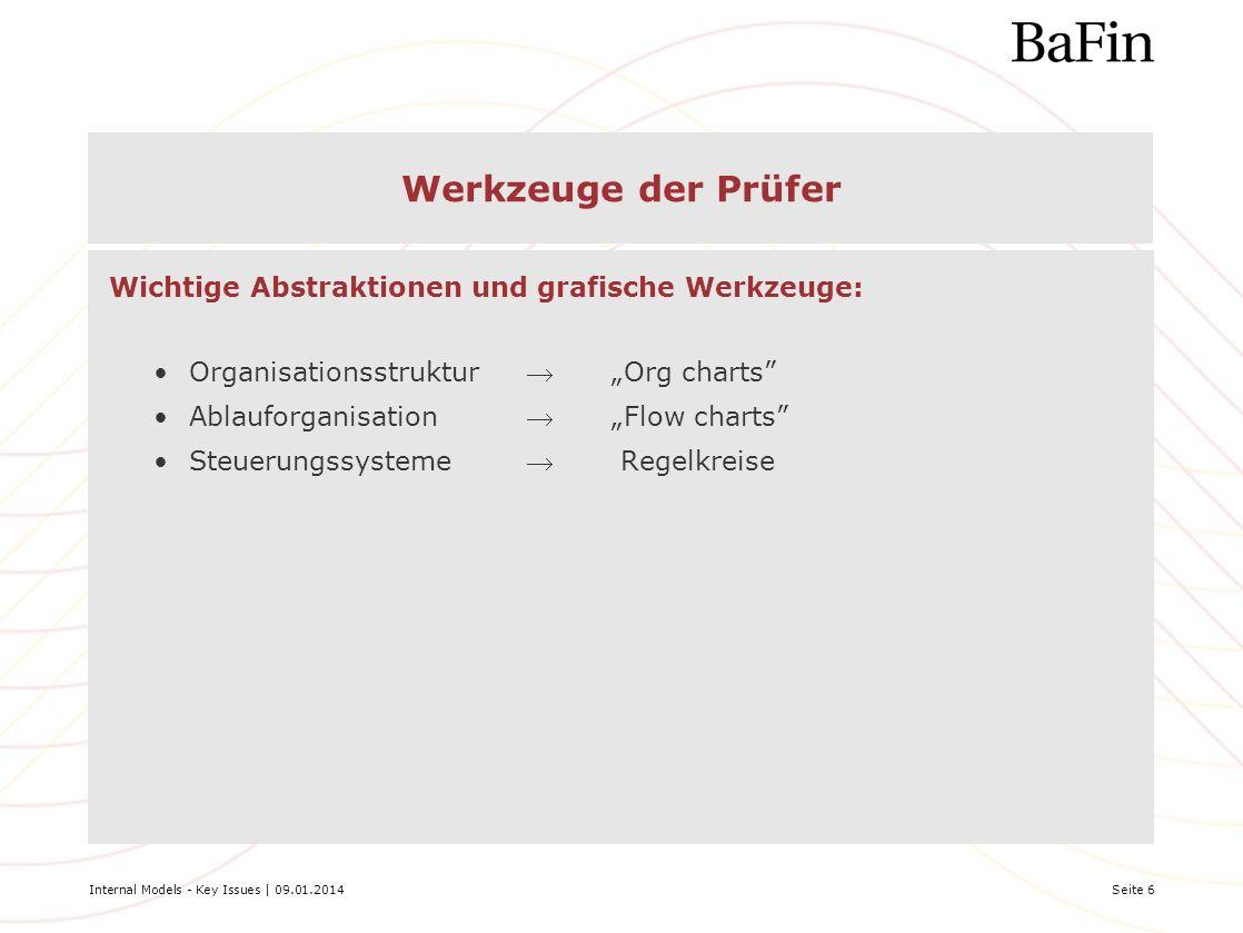 Internal Models - Key Issues | 09.01.2014Seite 6 Werkzeuge der Prüfer Wichtige Abstraktionen und grafische Werkzeuge: OrganisationsstrukturOrg charts