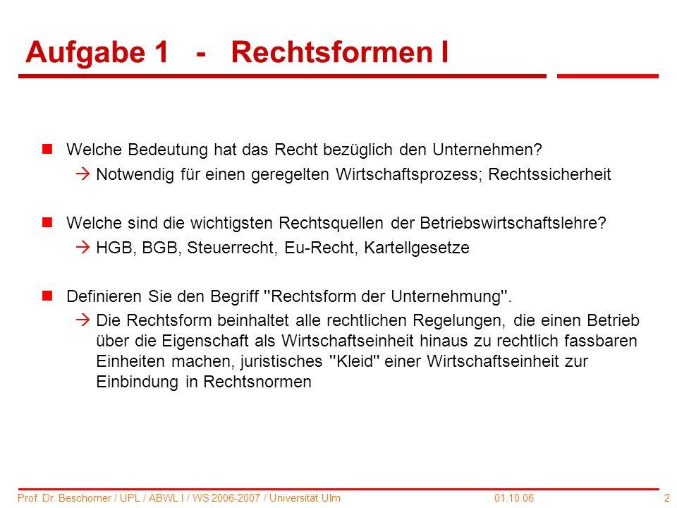 2 Prof. Dr. Beschorner / UPL / ABWL I / WS 2006-2007 / Universität Ulm 01.10.06 Aufgabe 1 - Rechtsformen I nWelche Bedeutung hat das Recht bezüglich d