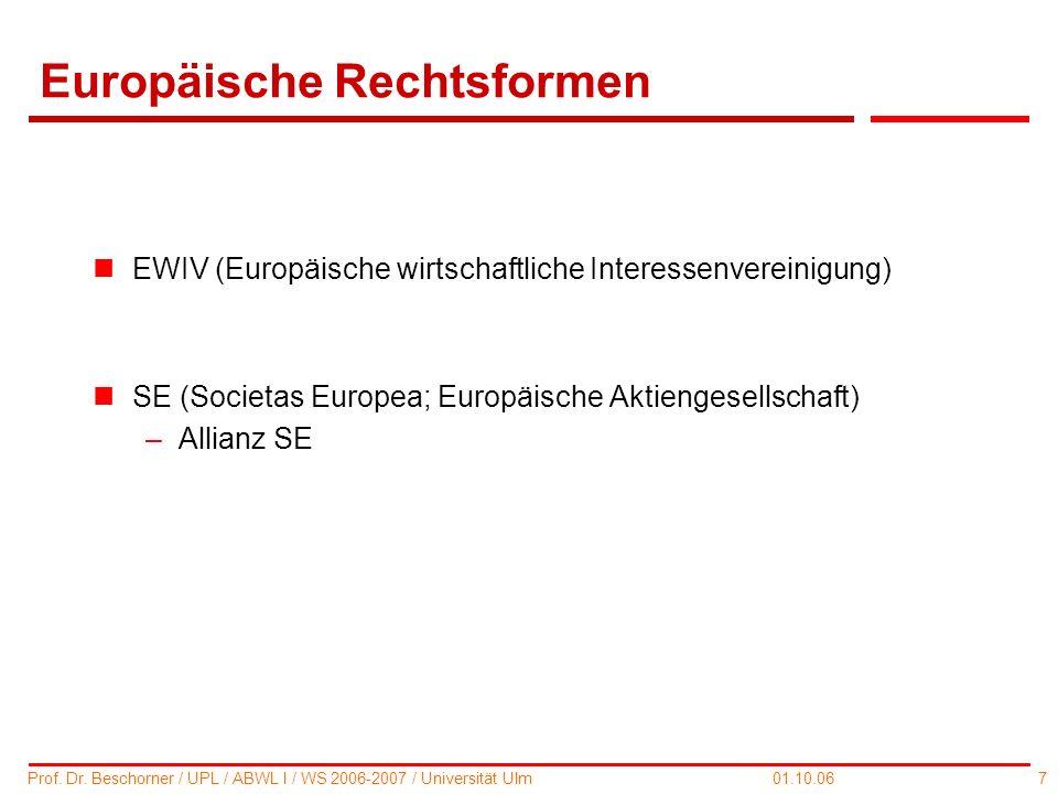7 Prof. Dr. Beschorner / UPL / ABWL I / WS 2006-2007 / Universität Ulm 01.10.06 Europäische Rechtsformen nEWIV (Europäische wirtschaftliche Interessen