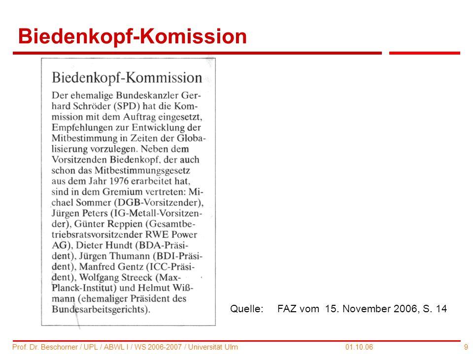 9 Prof. Dr. Beschorner / UPL / ABWL I / WS 2006-2007 / Universität Ulm 01.10.06 Biedenkopf-Komission Quelle:FAZ vom 15. November 2006, S. 14
